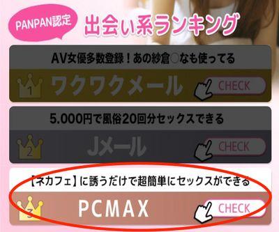 PANPAN認定出会い系ランキング3位「超簡単に【ネカフェセックス】ができる出会いの裏ワザ」PCMAX
